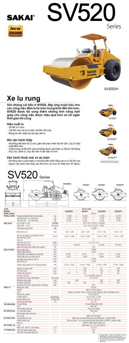 xe lu rung Sakai SV520DH, thống số kỹ thuật
