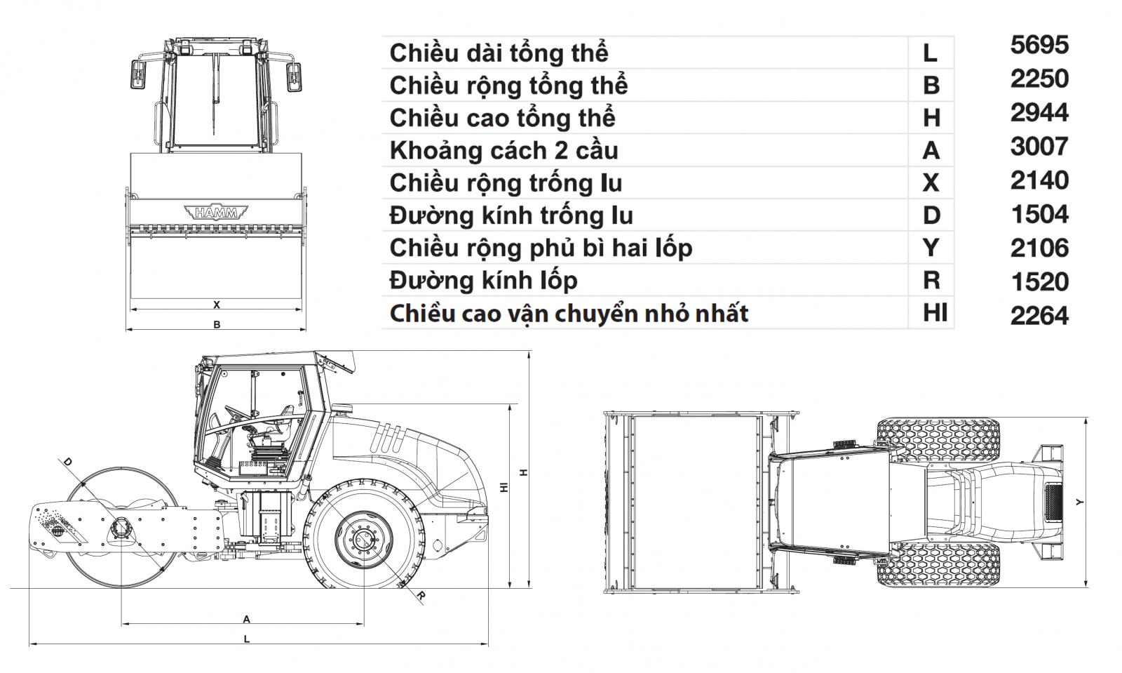 kích thước xe lu rung hamm 3411