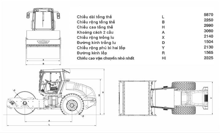 thông số kỹ thuật, xe lu rung hamm 3414