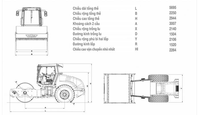 Lu rung Hamm 3410, thống số kỹ thuật
